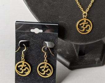 New! Om Necklace & Earrings Set - Gold Plated - Positive Universal Energy