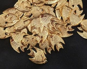 Bulk Bag of Gold Plated Metal Fish Charms - Jewelry Pendants