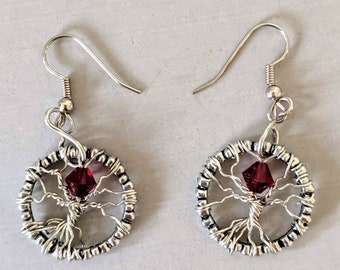 Red Crystal Eye of Sauron - Tree of Life Earrings - July Birthday