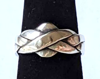 Four Band Puzzle Ring - Sterling Silver Friendship Ring with Solution