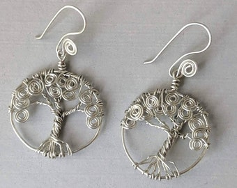 Tree of Life Earrings - Sacred Spiral Earwires
