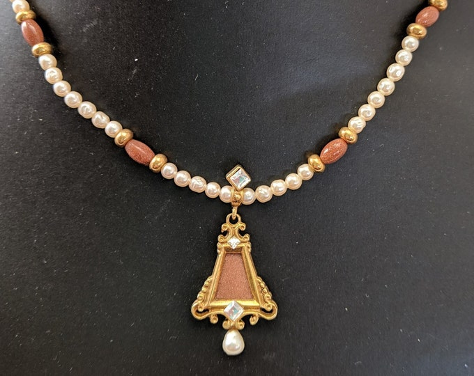 Goldstone Pearl Pendant on Pearl Necklace - Elizabethan Renaissance