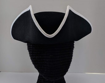 Edge Trimmed Tricorn - Carolean Felt Hat - Colonial Tricorne