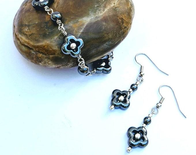 New! Lucky Quatrefoil Hematite Earrings and Bracelet Set