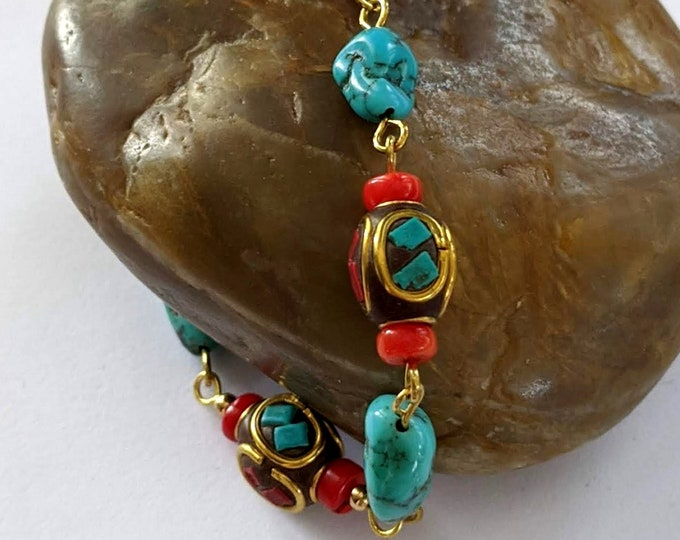 New! Tibetan Bean Bracelet and Earrings Set - Turquoise - Red Bamboo Coral