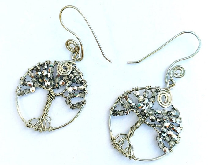 Tree of Life Earrings - Great Mother Silver Glass Beads Sacred Spiral