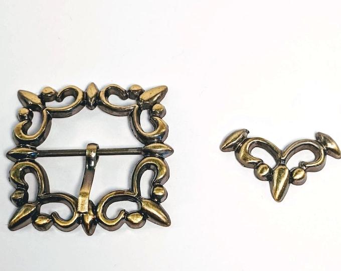 Goldtone Metal Buckle and Belt Tip - Italian Renaissance - Victorian
