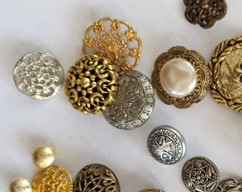 23 Mixed Metal Tone Plastic Buttons - Gold and Silver Shank Buttons