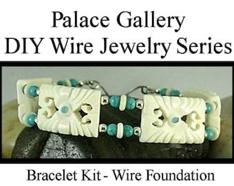 DIY Bracelet Kit - Carved Bone wi Turquoise Beads - Wire Jewelry Series