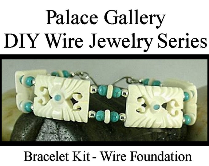 DIY Bracelet Kit - Carved Bone wi Turquoise Beads - Wire Jewelry Series