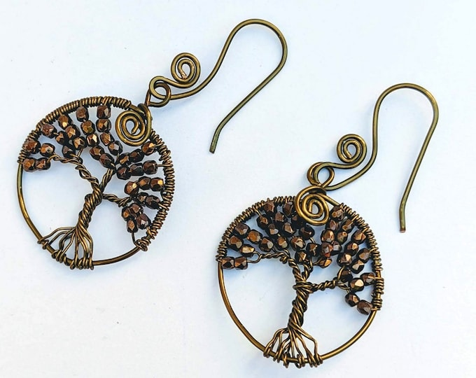 Tree of Life Earrings - Bronze Glass Faceted Czech Beads - Sacred Spiral Earwires