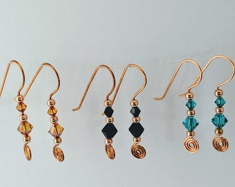 Birthday Spiral Earrings - All in One Swarovski Crystals