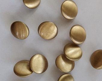 13 Brushed Metal Gold Flat Top Buttons