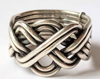 Eight Band Open Weave Puzzle Ring - Sterling Silver Gimmel Ring