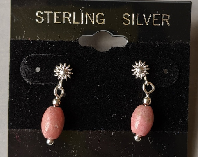 Sterling Silver Vintage Flower Post Earrings -  Pink Rhodochrosite