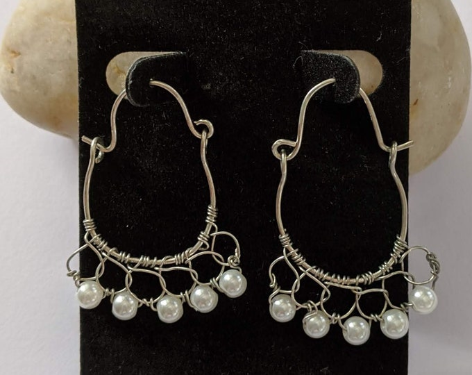 Love Goddess 5 Pearl Hoops  - Renaissance Earrings - Elizabethan