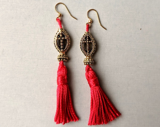 Oval Gold Cross Beads with Red Tassels Earrings