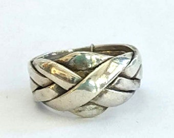 Six Band Puzzle Ring - Sterling Silver Gimmel Ring with Solution