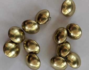 12 Dome Top Gold Shank Buttons