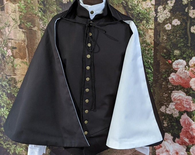 In Stock! Fencing Half Cape with White Lining - Fighting Sports Cloth Cloak - SCA Rapier Armor