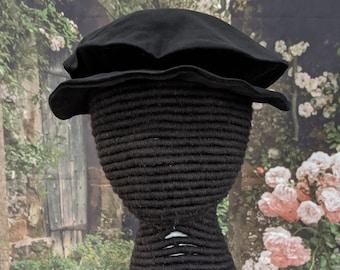 Velveteen Tudor Flat Hat - Elizabethan Flat Cap - Renaissance