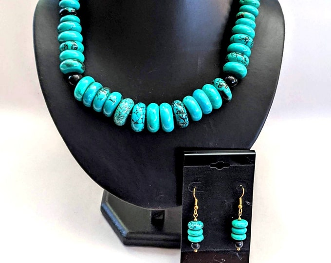 Set Turquoise Disc Necklace + Earrings - Mayan Aztec - Tribal - Native