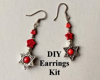 DIY Jewelry Kit - Patriotic - Red Stars A - Instructions & Findings