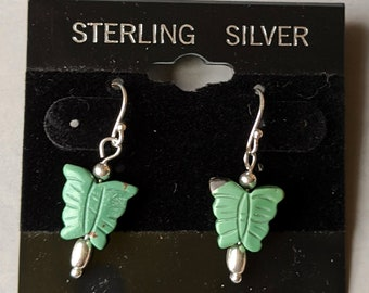 Sterling Silver Natural Turquoise Butterfly Earrings - Freedom Symbol