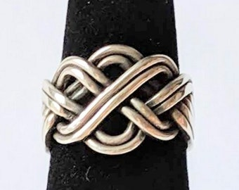 Eight Band Open Weave Puzzle Ring Sterling Silver Gimmel Promise Ring