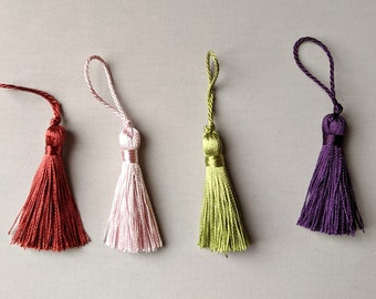 """Pink - Purple - Rust - Lime Green - Small 2"""" Tassels - Home Decor - Crafts"""