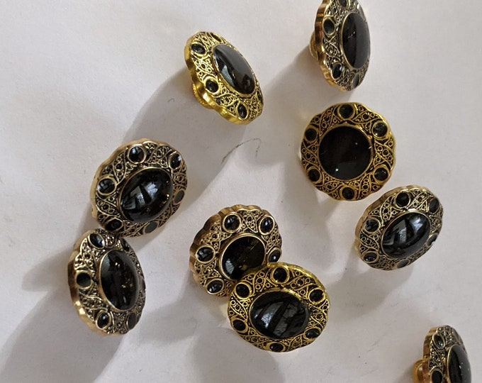 11 Gold Faux Onyx Plastic Buttons