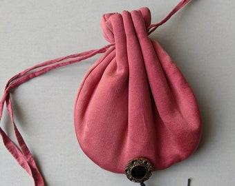Vintage Pink Silk Purse - Drawstring Pouch - Victorian - Renaissance