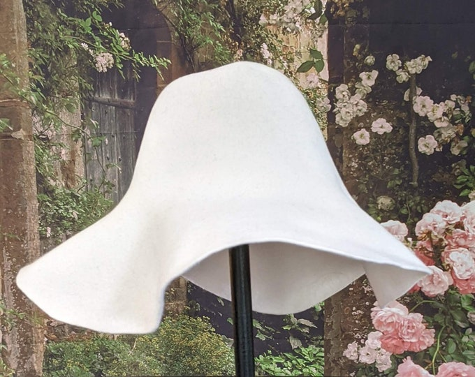White Wool Felt Capeline - Flare Hat Body - DIY Hat Making Supplies