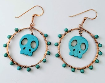 Happy Halloween Aztec Native American Memento Mori Turquoise Skull Hoops