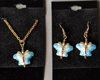 Enameled Butterfly Earrings and Necklace Set - Good Luck Symbol