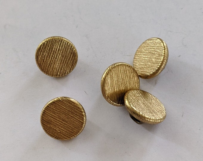 5 Flat Brushed Metal Gold Shank Buttons