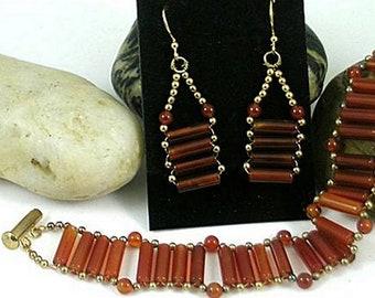 Egyptian Princess Bracelet and Earrings Set - Carnelian - 2nd Chakra