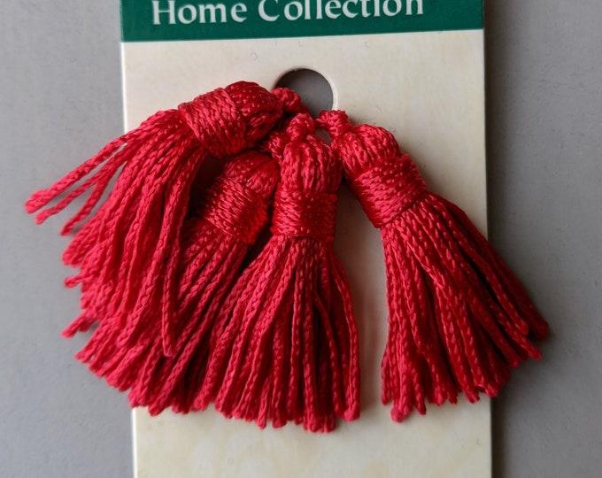 "Red or Burgundy 4 Mini 1 1/2"" Tassels - Key Chains - Zipper Pulls - Jewelry"