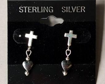 Vintage Sterling Silver Cross Post Earrings - Hematite Heart Ear Studs