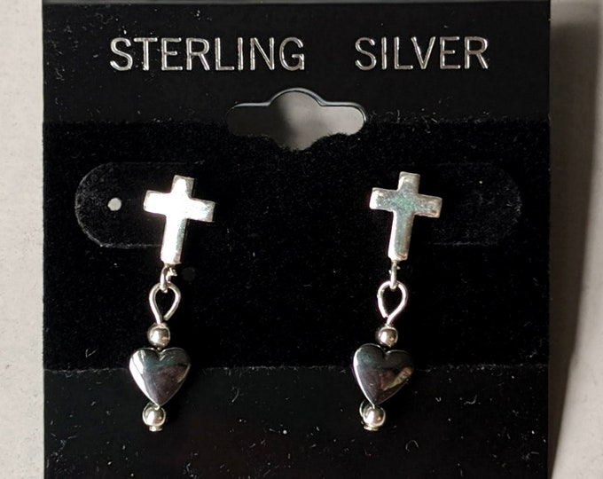 Vintage Sterling Silver Cross Post Earrings - Hematite Heart Ear Studs