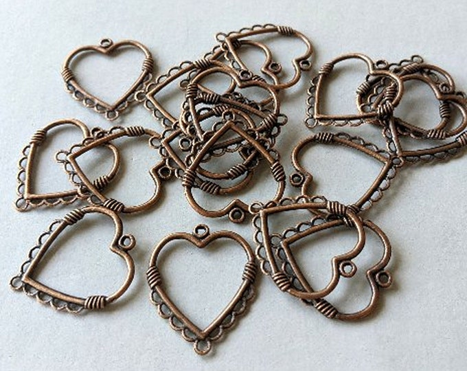 Antique Copper Open Heart Charm - 9 Loops Pendant - Jewelry Findings