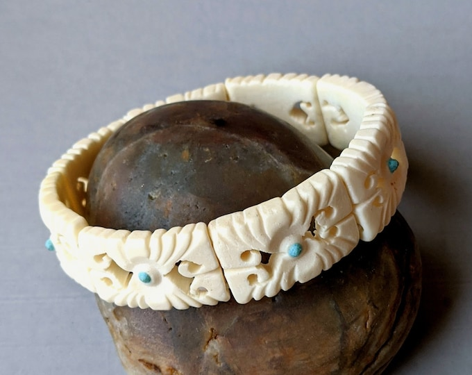 Carved Bone Stretch Bracelet