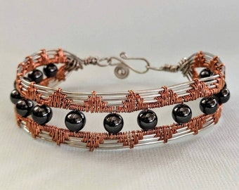 Art Deco Bracelet - Copper - Silver - Hematite Beads - Sacred Spiral