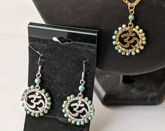 Turquoise Om Necklace & Earrings Set - Positive Universal Energy