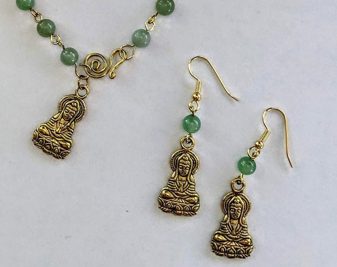 Quan Yin Bracelet & Earring Love Set - Goddess Aventurine