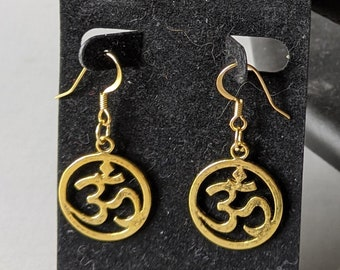 New! Om Earrings - Gold or Silver - Positive Universal Energy