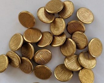 12 Flat Brushed Metal Gold Shank Buttons