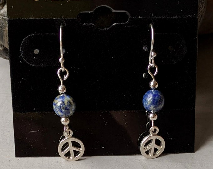 Vintage Peace Earrings - Sterling Silver  -  Lapis Lazuli