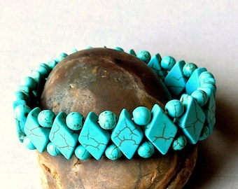 Turquoise Diamond Stretch Bracelet
