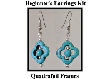 DIY Jewelry Kit - Turquoise Quatrefoil Earrings - Instructions & Findings